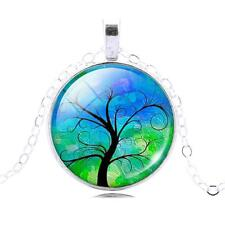Silver Tree of Life Glass Cabachon Pendant Necklace, Sacred Tree, TL38
