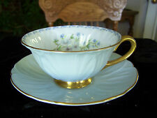 Oleander Blue Rock with Gold Teacup Cup & Saucer Set Shelley Bone China England