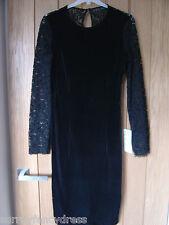 Señoras terciopelo encaje básica Zara Negro Vestido Talla XS nuevo (etiquetas) pvp £ 49.99