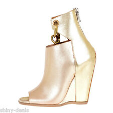 RICK OWENS New Woman Gold Leather PEEPTOE CHAIN WEDGE Mules Shoes Sz 41 it SALES
