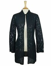 JAEGAR BLACK EMBELLISHED SEQUIN SILK EVENING SHIRT JACKET SIZE  S 8-10 EU38 US6