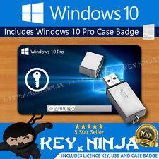 Windows 10 Pro Professional Genuine Licence Key + Bootable USB + Badge 32/64bit