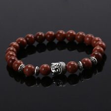 1Pc Natural Black Lava Rock Stone Beaded Bracelet Charm Buddha Bracelet