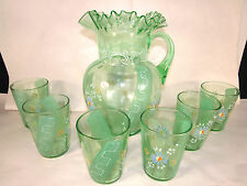 Victorian Art Glass Enamel Painted Pitcher+6 Tumblers Daisy Flower-Striped Green