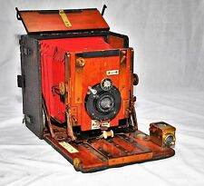 SANDERSON Regular 4x5 inch Plate Brass Wood Field Camera w/ENSIGN Lens & Shutter