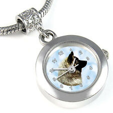 Eurasier Dog Silver Charm Bead Quartz Watch Fit European Bracelet Necklace Eba56
