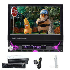 "7"" HD Flip Up Single 1 DIN GPS Navigation Car Stereo CD DVD MP3 Player Map Radio"