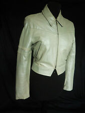 LUXURY JOSEPH LIGHT GREEN REAL LEATHER BIKER JACKET RRP £650  SOME MARKS SIZE 8