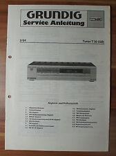 FM AM Stereo Tuner t30 t30gb Grundig Service Manual Istruzioni di servizio