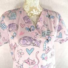 Just Love Uniforms Pink Purple Hearts Cats Butterfly Scrubs Top Shirt S