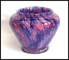 BEAUTIFUL SPLATTER GLASS END OF DAY PINK & PURPLE VASE