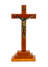 "8"" Vintage Wood Metal Cross Stand Crucifix Holy Religious Carved Christ Natural"