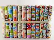 NEW 10 pcs BUNDLE CHILDREN FABRIC QUILTING CRAFTS SEWING aprox 20 X 25 cm OWLS