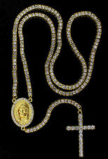 BRAND NEW!! ICED OUT 1 ROW 14K GOLD FINISH HIP HOP ROSARY CROSS CHAIN NECKLACE