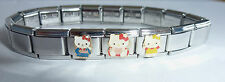 Hello Kitty Italian Charm Bracelet * 3 x Classic Charms * kimono pink heart