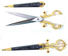 MEDIEVAL GOTHIC FANTASY Gold Tone BODICE SCISSORS DAGGER KNIFE with Sheath 10""