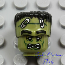 NEW Lego Olive Green FRANKENSTEIN MINIFIG HEAD & HAIR - Halloween Monster Zombie
