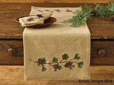 "TABLE RUNNER 36""L - BURLAP & PINE - PARK DESIGNS - CHRISTMAS HOLIDAY PINE CONE"