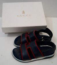 GUCCI Navy Blue Infant Toddler Boys Leather Rubber Branded Sandals Shoes Sz:26