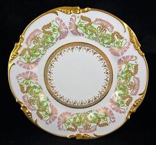 Limoges Heavy Gold Trim Cabinet Plate Pink & Green Stylized Floral - Patented
