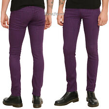 "RUDE Purple & Black Pinstripe Mens Skinny Pants Jeans 28"" Waist 32"" Inseam NEW"