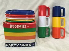 INGRID Party Snax Mugs & Plates, 6 & 6, Bright Colors with Box Personal Trays