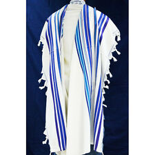WOOL TALLIT WITH BLUE STRIPES - Made in Israel - Jewish Prayer Shawl - SIZE 24