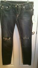 WOMEN TRUE RELIGION JEANS SIZE 33 SKINNY BIG T NATURAL RED
