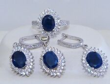 GENUINE 6.48cts African Sapphire Solid S/Silver 925 Set Ring/Earrings/Pendant