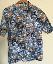Pacific Legend Hawaiian Shirt Blue Wind Surfing Woody Car Dolphins Turtle XL