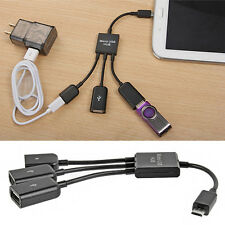 3 in 1 Micro USB male to female DUal Host OTG Hub adapter cable