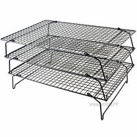 Set of 3 Non Stick Wire Stackable Cooling Racks Baking Cooking Cake Trays Stand