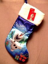 "DISNEY'S FROZEN OLAF 18"" BLUE SATIN CHRISTMAS STOCKING NWT BRAND NEW"