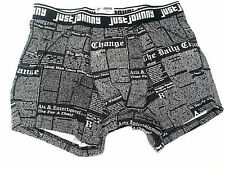 Just Johnny Men Fitted Boxer Briefs Underwear Newspaper Black Small