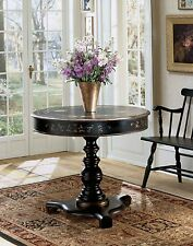 French Style Black Scroll & Floral Pedestal Table Round Side End Accent ENTRY