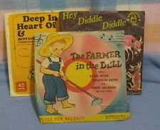 Vintage Children's Records 45 rpm~ Farmer in the Dell, Deep in Heart of Tx, Hey