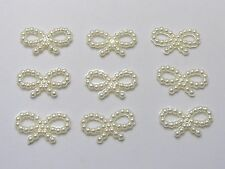 1000 Ivory Acrylic Pearl Dotted Bowknot Bow Tie 18X10mm Scrapbook Craft