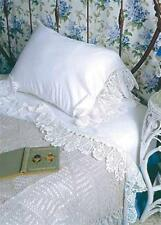 Shabby Cottage Victorian Bedclothes Sheets 2 Pillow Cases White Lace Queen Size