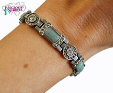 LADIES SUPER STRONG MATT GREY COLOURED MAGNETIC BRACELET GREEN & CLEAR STONES
