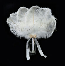 White Bridal Bouquet Ostrich Marabou Feathers Fan Bridesmaid wedding favors