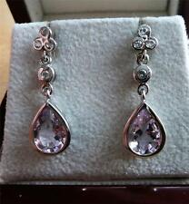 925 STERLING SILVER ROSE DE FRANCE AMETHYST TOPAZ BUTTERFLY DROP DANGLE EARRINGS