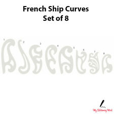 FRENCH SHIP CURVES SET OF 8 Curved Rulers Technical Drawing Stencil Template