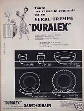 PUBLICITÉ 1956 SAINT-GOBAIN VAISSELLE DURALEX EN VERRE TREMPÉ - ADVERTISING