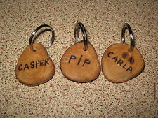 DOG TAG HANDMADE FROM NATURAL NORTHUMBRIAN DRIFTWOOD, DOGS NAME + TEL No'