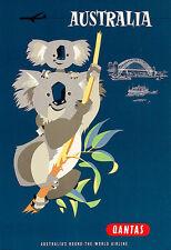 Art Ad AUSTRALIA  Koala's Travel  Deco  Poster Print