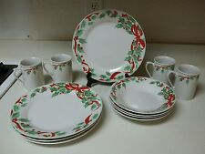 Gibson Everyday Stoneware  Holly & Berries Dish Set 12 Pieces Plates Bowls Cups