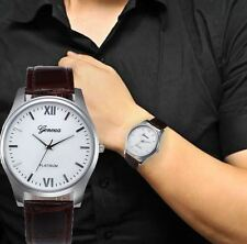 Men's: Classic, 39mm White Dial, Silver Case Watch, Brown Crocodile Effect Strap