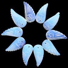 10pcs Carved Opal Opalite Wing Pendant Bead K0158746