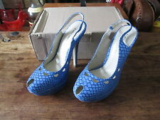 LOVE LABEL BRIGHT BLUE SNAKE PRINT SLING BACK PLATFORM STILETTOS SIZE 4 BNIB