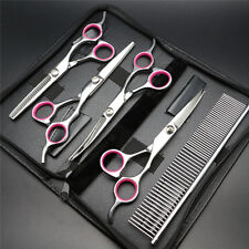 """6"""" Professional Pet Dog Cat Grooming Scissors Cutting Curved Thinning Shears Set"""